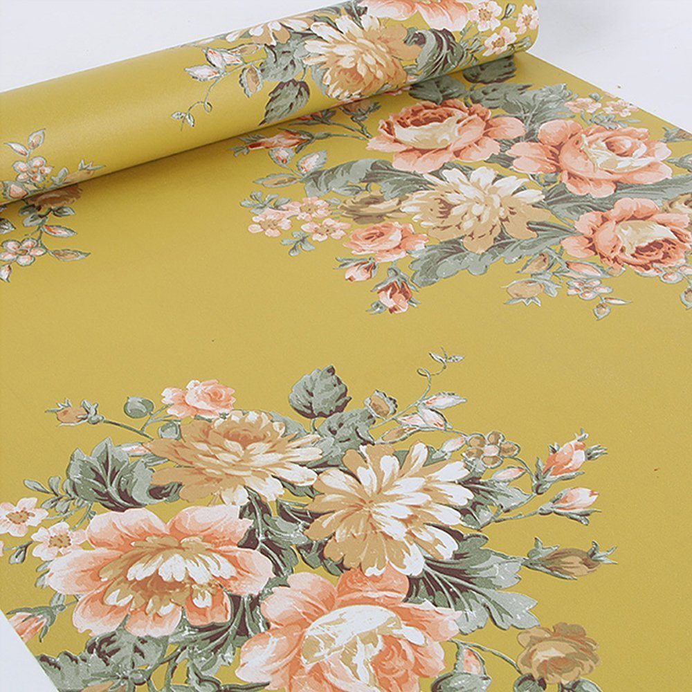 Vintage Peony Floral Contact Paper Dark Yellow Peel Amp Stick