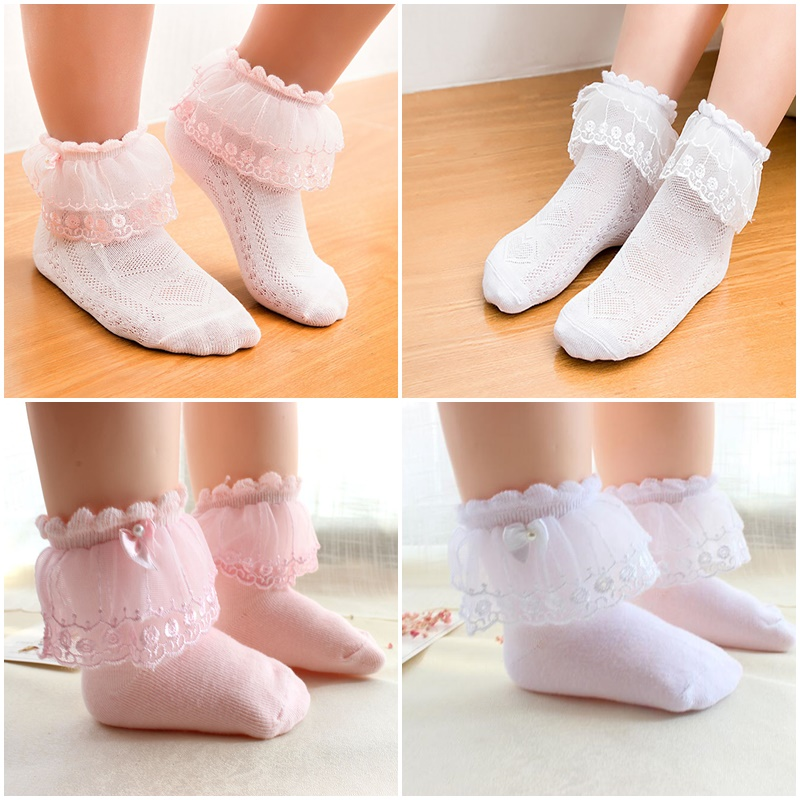 GORGOUS  GIRLS   FRILLY  SOCKS  WHITE  RIBBON WHITE  LACE  TRIM