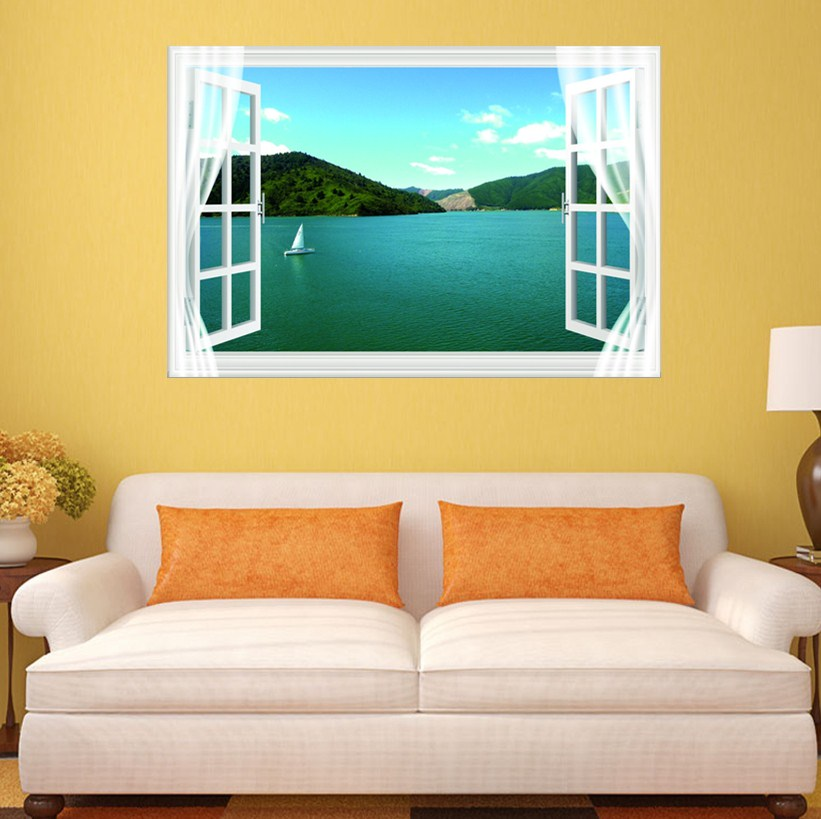 Blue Sea Sailboat 3D Fake Window Wall Sticker Decal Home Office ...