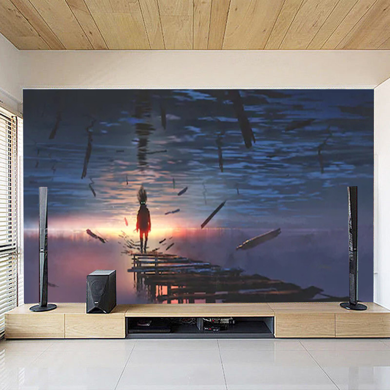 Details about 3D Surreal Scenery Old Bridge at Sunset TV Background  Wallpaper Wall Mural Decor