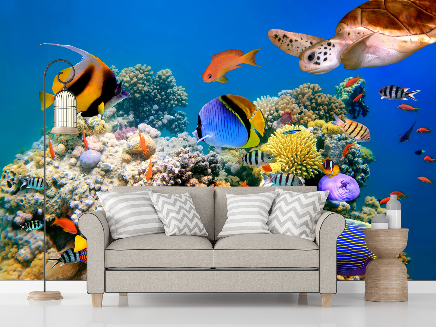 3d Tropical Fish And Turtle Self Adhesive Kid S Room Wallpaper