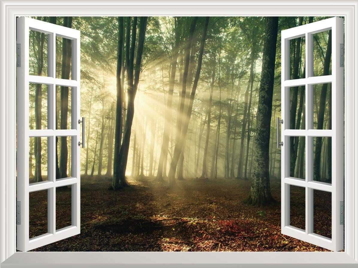 3D Sunshine Tree Forest Bedroom Window Wall Decal 3D Art Stickers ...