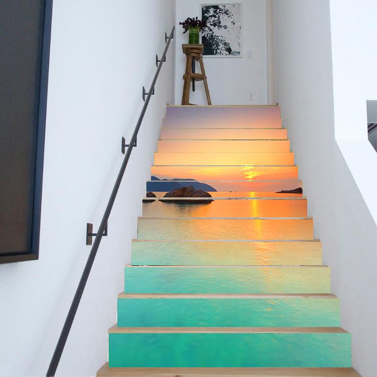 3D DIY 13pcs Waterfall Scenery Stair Sticker Photo Mural Decal Scenery Wallpaper
