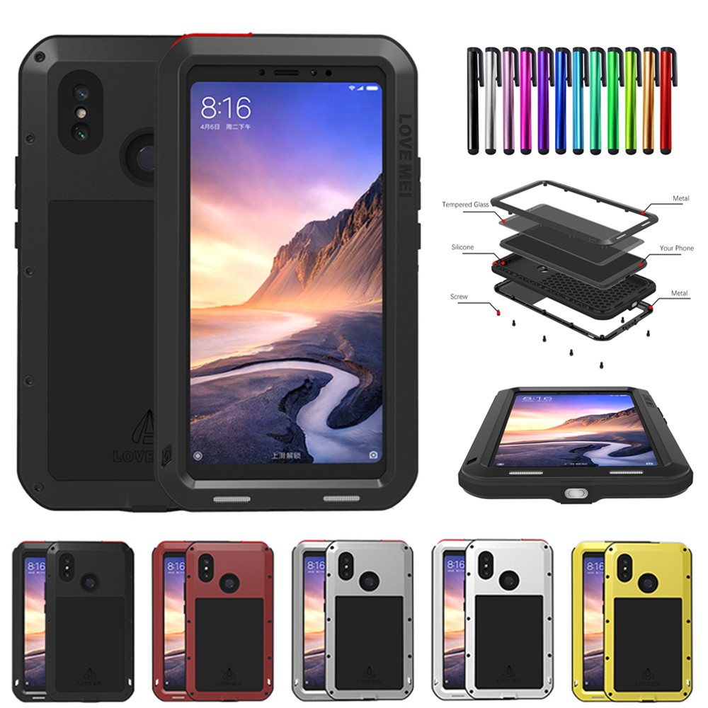 buy online af057 a194a Details about LOVE MEI Waterproof Glass Protector Aluminum Case Cover For  Xiaomi Mi Max 3 8
