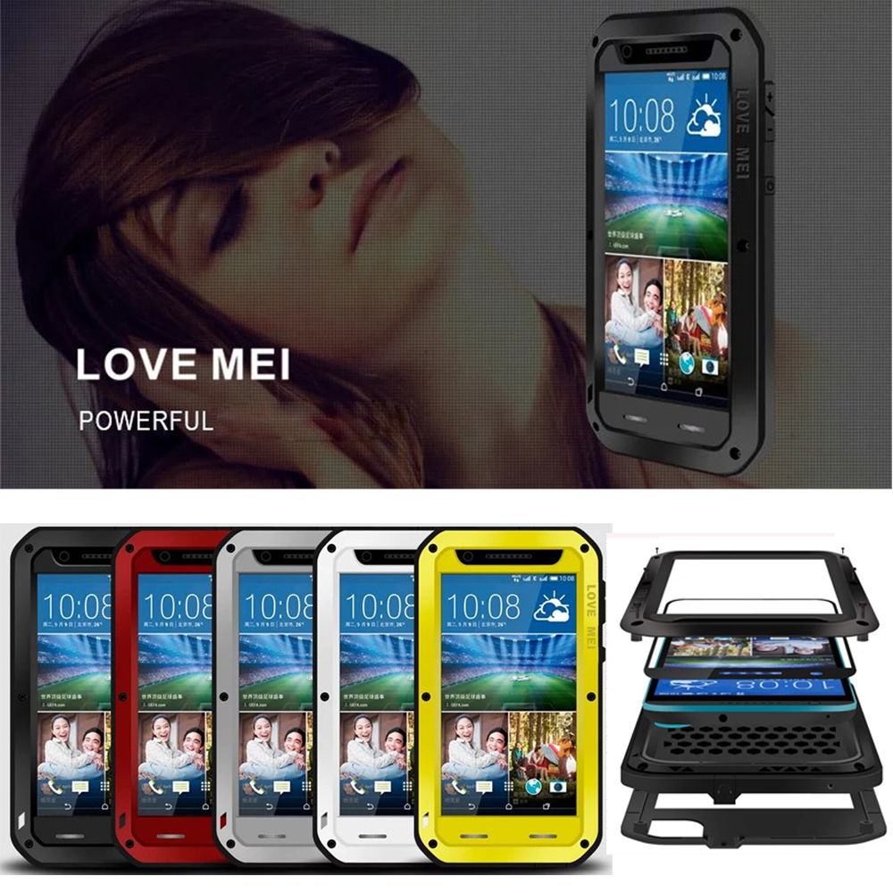 huge discount 78b27 bbf1f Details about LOVE MEI Metal Glass Screen Waterproof Case Cover For HTC M8  M9 A9 10 U11 820