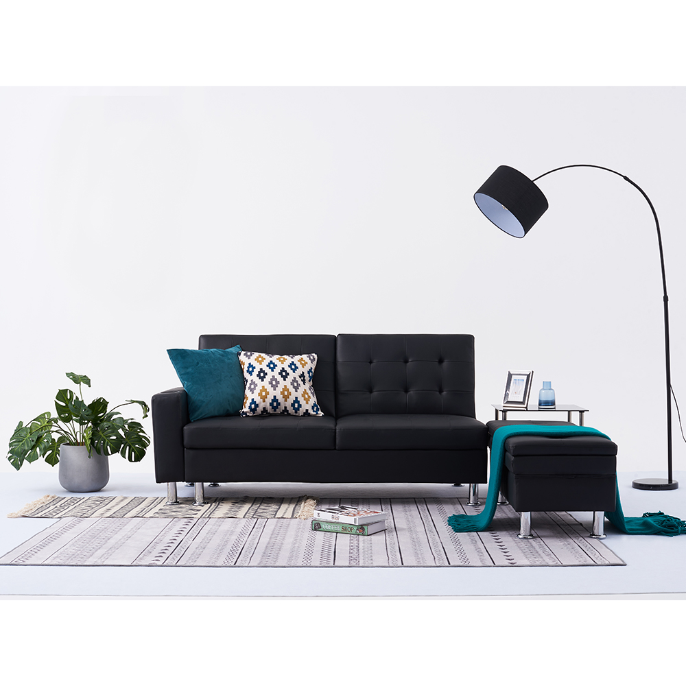 Italian Style Faux Leather Sofa Bed with Storage 2 Cup Holders ...