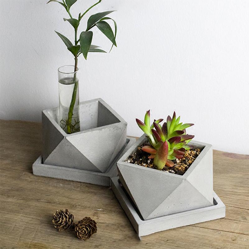 New Silicone Concrete Mold Geometric Flower Pots Cement Vase Mould