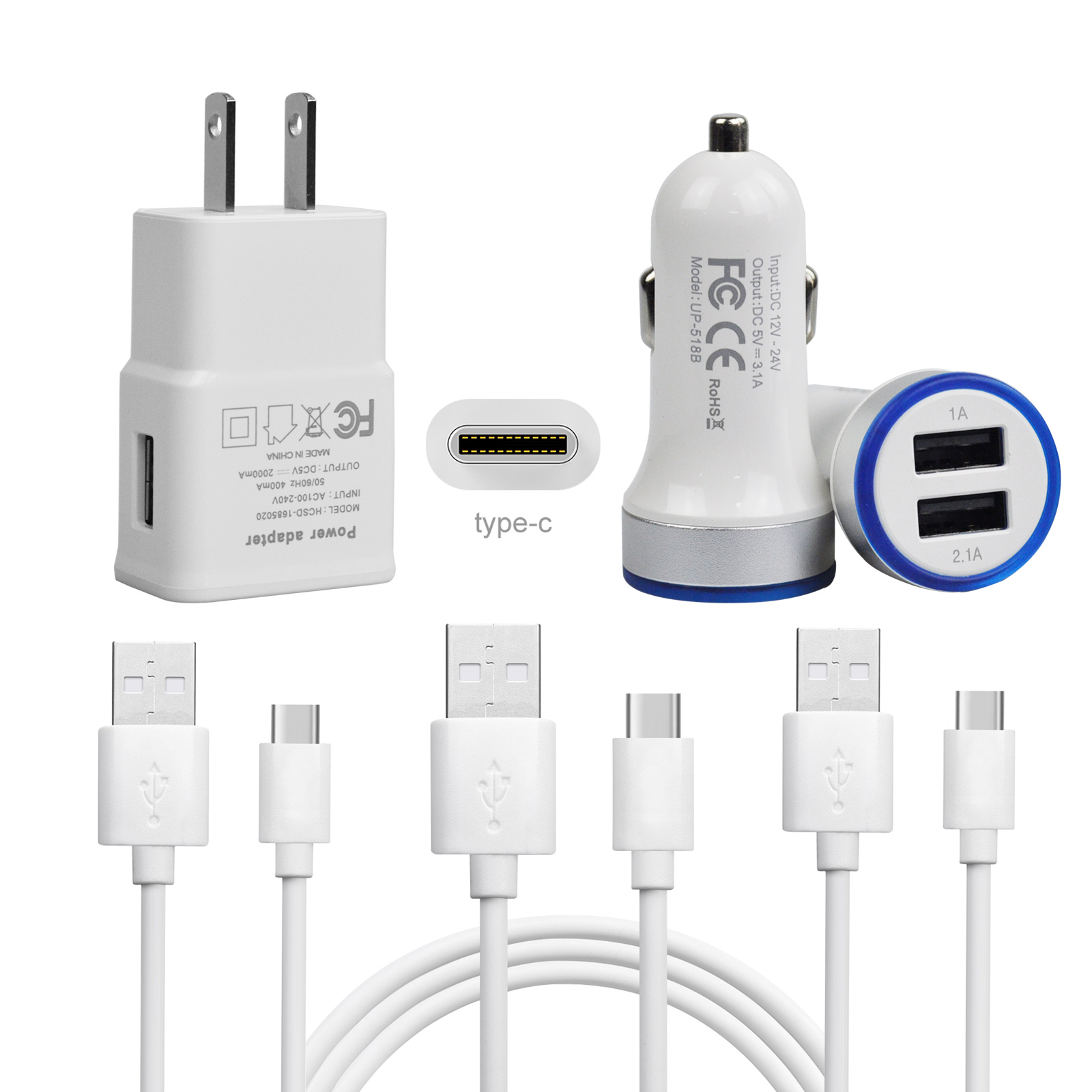 Usb C 2m 6ft Cable Wall Fast Car Charger For Google Pixel 2 Xl Lg Eternity Ultra Port Charging Stylo 4 V30 20