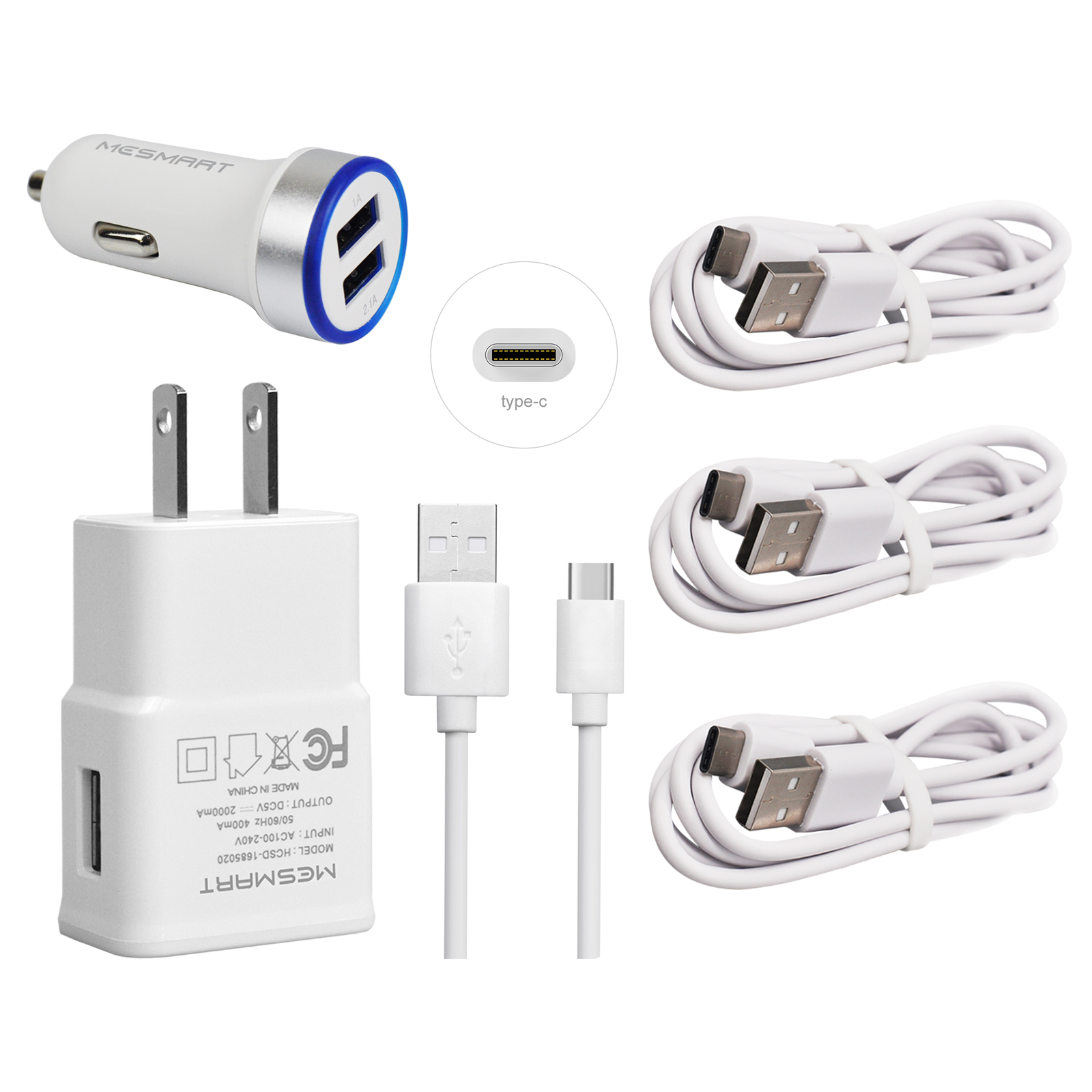 Details About For Zte Blade Z X Max 3 Xl Spark Zmax Pro Z981 Wall Fast Car Charger 6ft C Cable