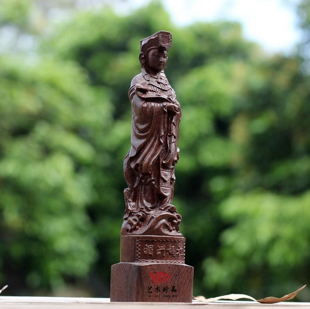 Chinese Hand carved agarwood Mazu Sea Goddess Buddha statue