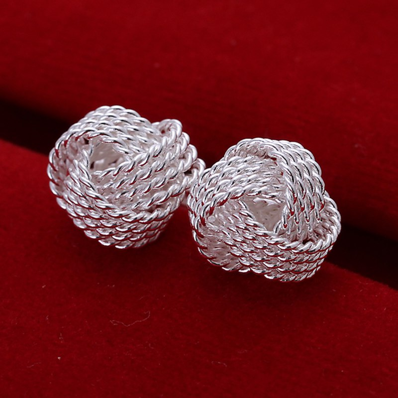 Fashion 925Sterling Solid Silver Jewelry 8mm Ball Stud Earrings For Women E073