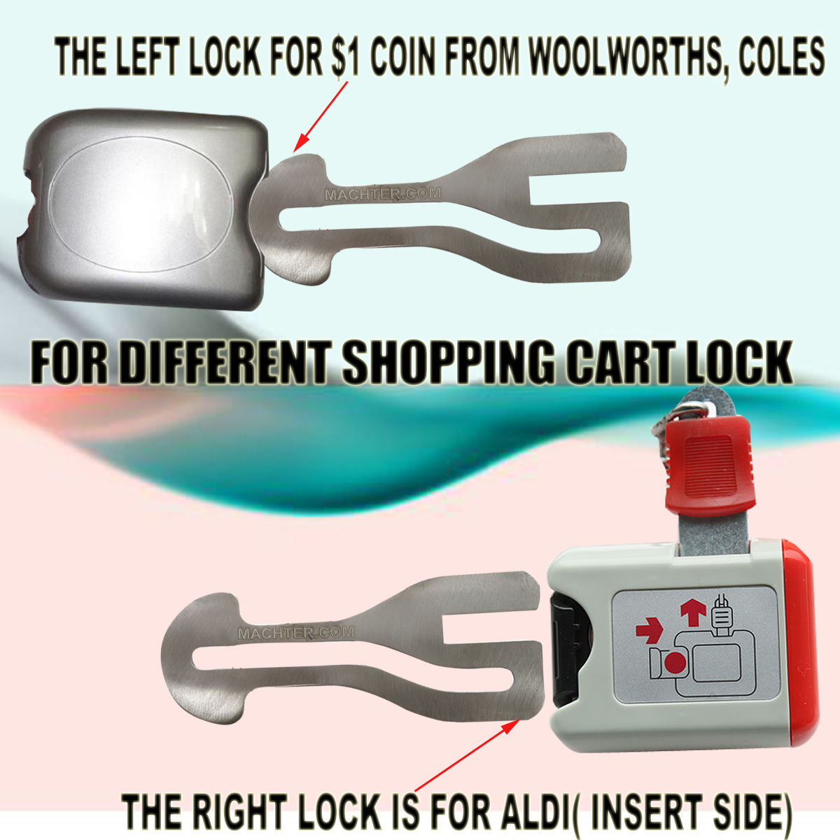 Reused Shopping Cart Trolley Token Key 1 Coin Slot Aldi