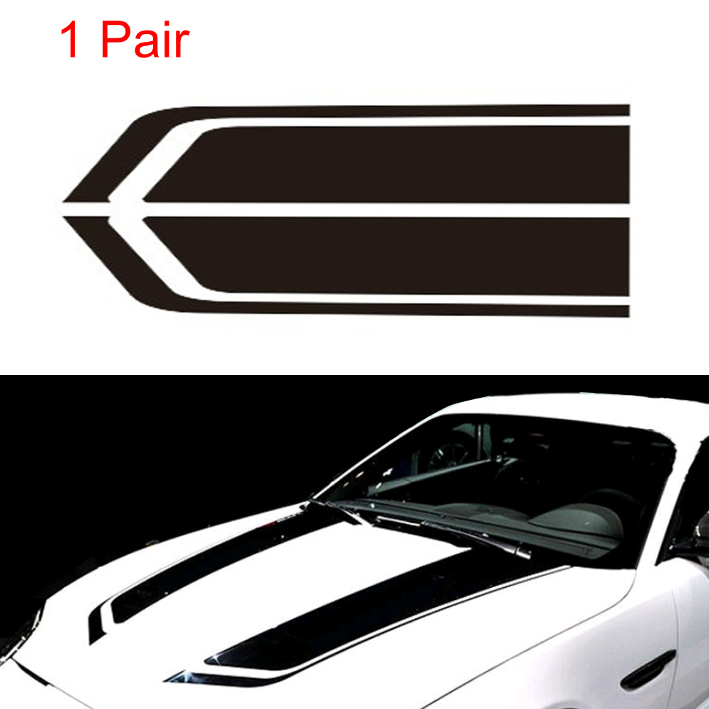 Pair Car Black Racing Stripe Sport Hood Decals Vinyl Auto