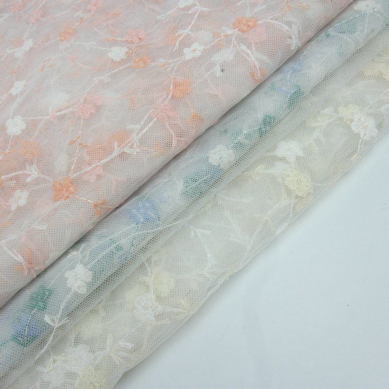 1//3//5M Tulle Embroidery Flowers Lace Mesh Fabric Cloth Wedding Bridal Dress