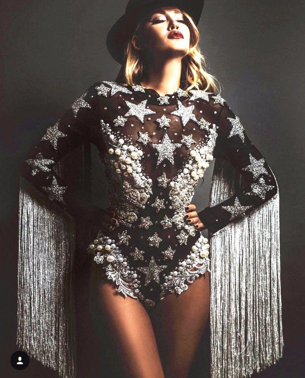 240e11eda1 Details about Tassel Crystals Stars Pearl Bodysuit Women Stage Dance  fringes Leotard Nightclub