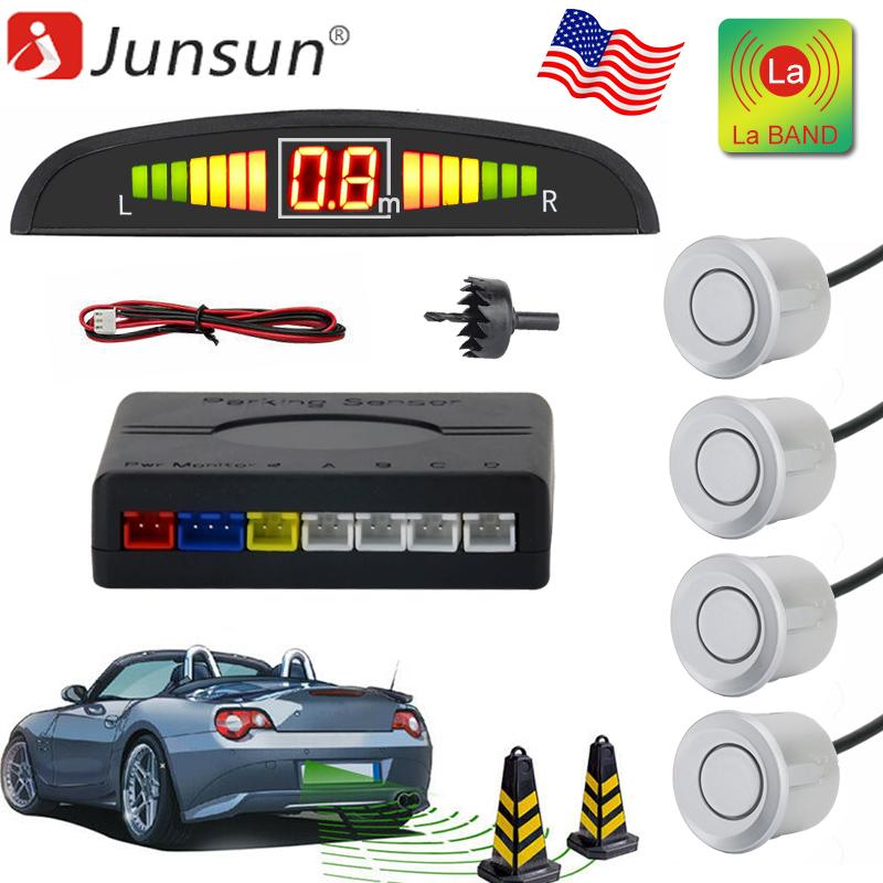Parking Sensor Rear 4 Sendors LCD Display Audio Buzzer Alarm//-LLA Silver