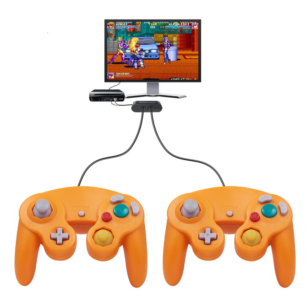 2PCS Orange Wired GameCube Controllers Remote For Retro Wii GameCube