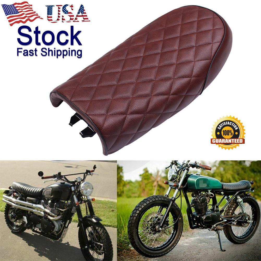 Vintage Flat Brat Style Cushion Seat Saddle Fit For Honda CB CL Retro Cafe Racer