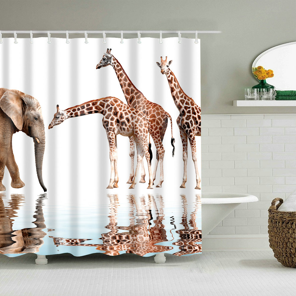 . Details about Shower Curtain Art Bathroom Decor Animals Giraffe and  Elephant Design Curtains