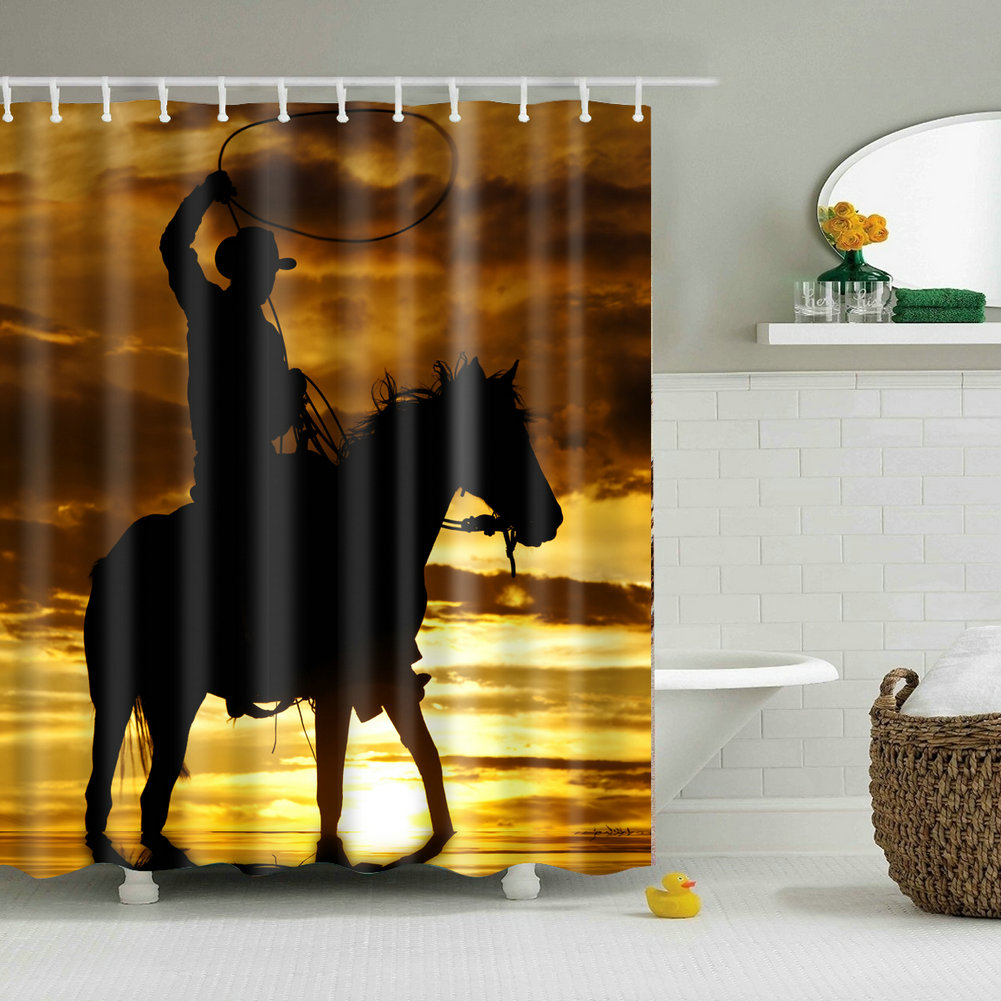 Bathroom Decor Shower Curtain Horse Riding Pattern Waterproof Curtains 12 Hooks