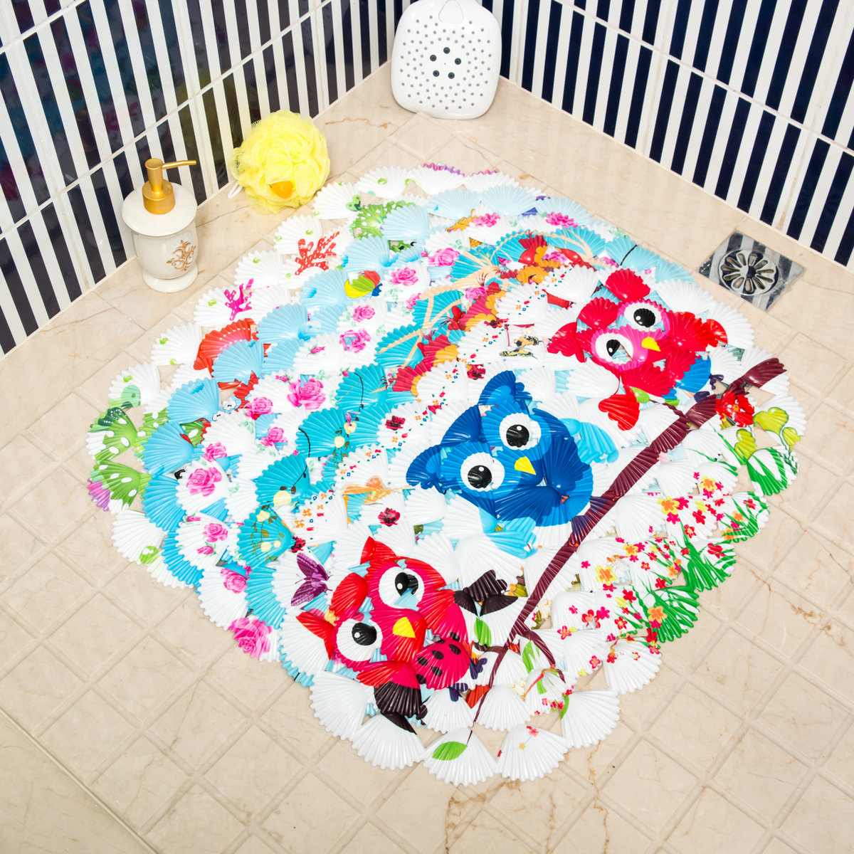 Non Slip Shower Mats Seashell Bath Tub Safety Mat Rubber Suction Cup 15 X 27inch