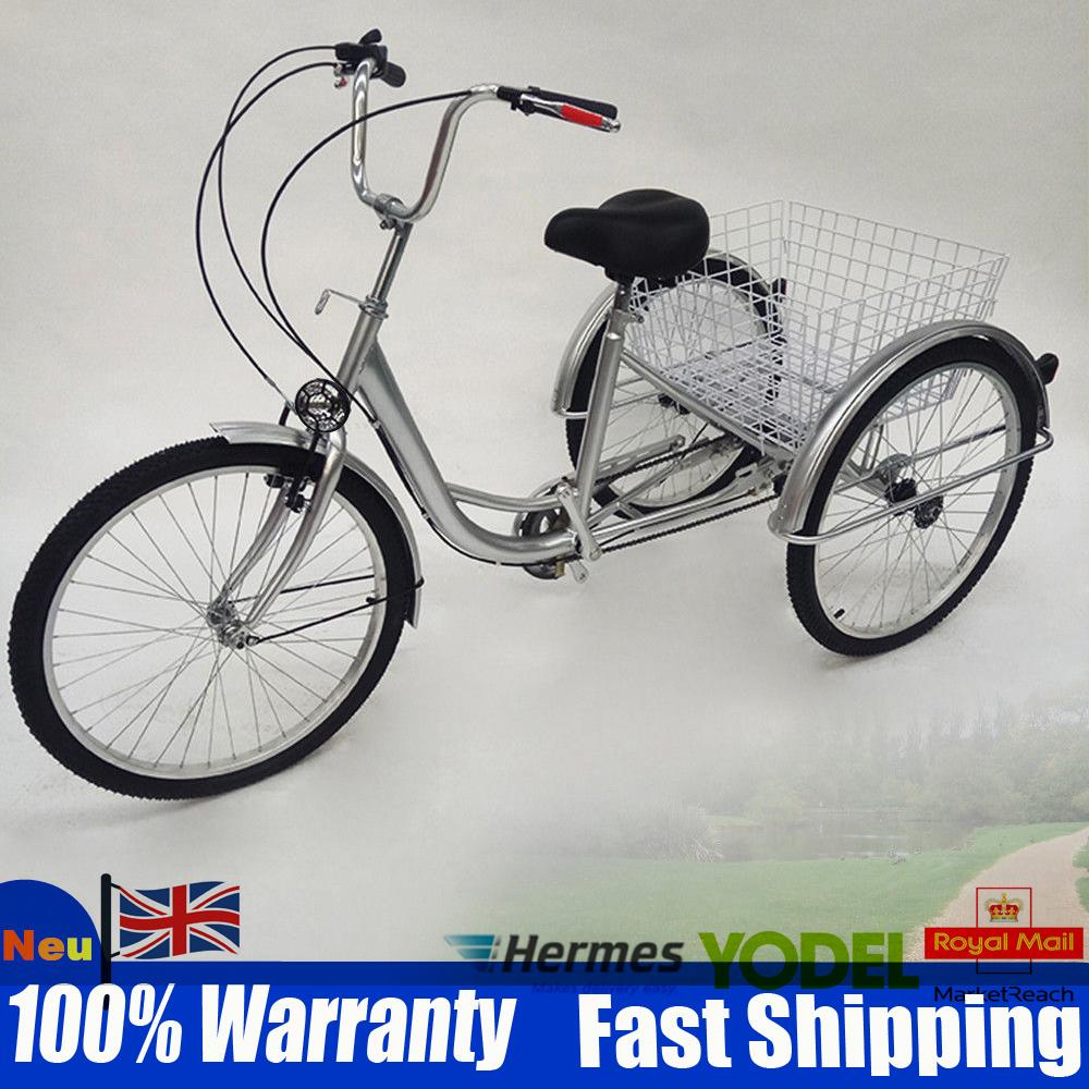 "24/"" Wheels Adults Tricycle Trike Cargo Bike 6-speed Bicycle Shopping Bike Elder"