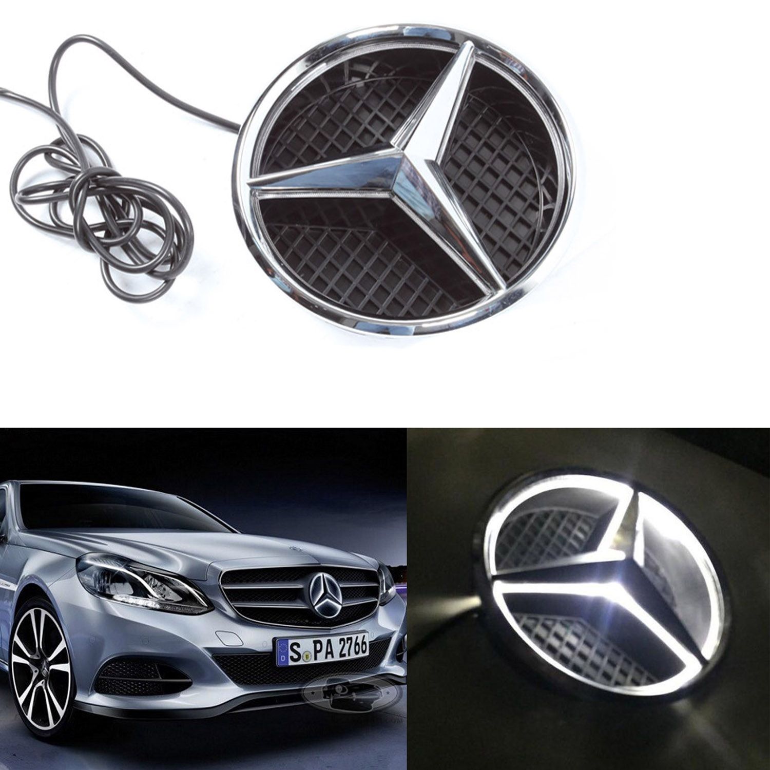 Illuminated led light front grille grill star emblem for for Mercedes benz led star