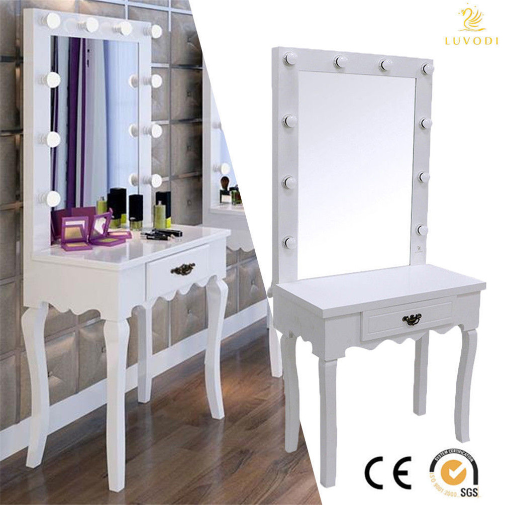 White 10 led light mirror bedroom dressing vanity make up - Bedroom vanity mirror with lights ...