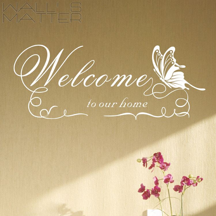Warm Butterfly Welcome Vinyl Art Removable Wall Stickers DIY Home ...
