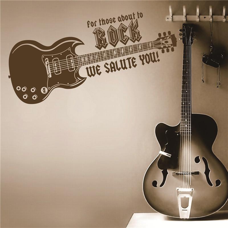 DIY Music Electric Guitar Art Vinyl Wall Sticker Decal Rock Mural Home Decor