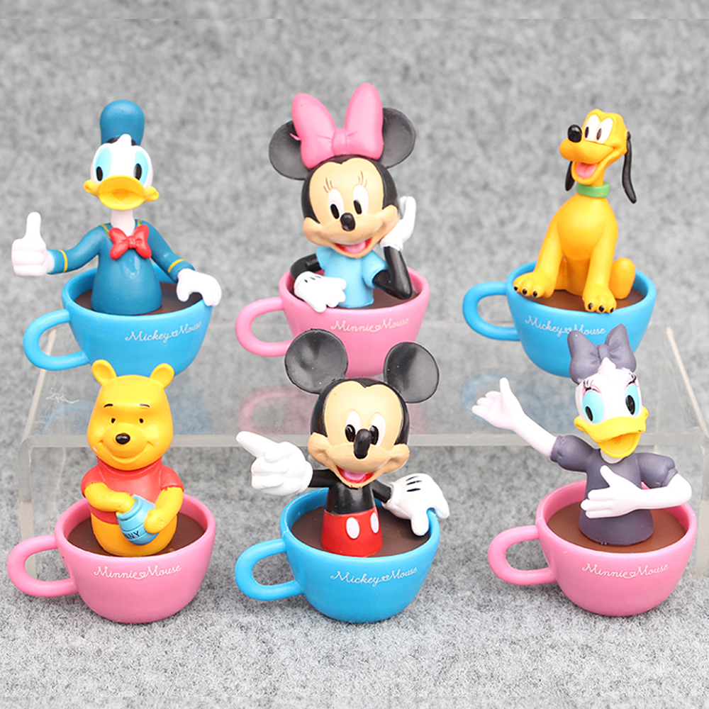 Mickey Mouse Minnie Donald Duck Pluto Pooh Bear In Cup 6 PCS Action ...