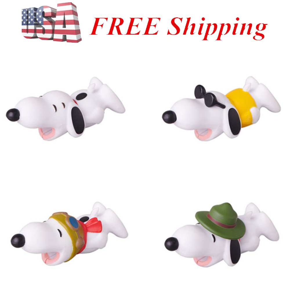 4 PCS Snoopy Cable Bite Cable Protector For iPhone Cable Snoopy Toy