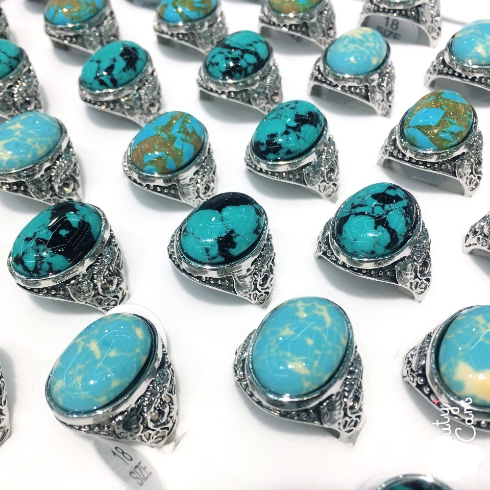 Wholesale Jewelry Fashion Woman Man Silver Plated Stone Turquoise