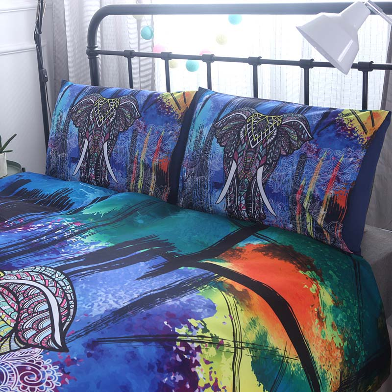 bohemian elephant duvet quilt cover pillow cases bedding set twin queen king ebay. Black Bedroom Furniture Sets. Home Design Ideas
