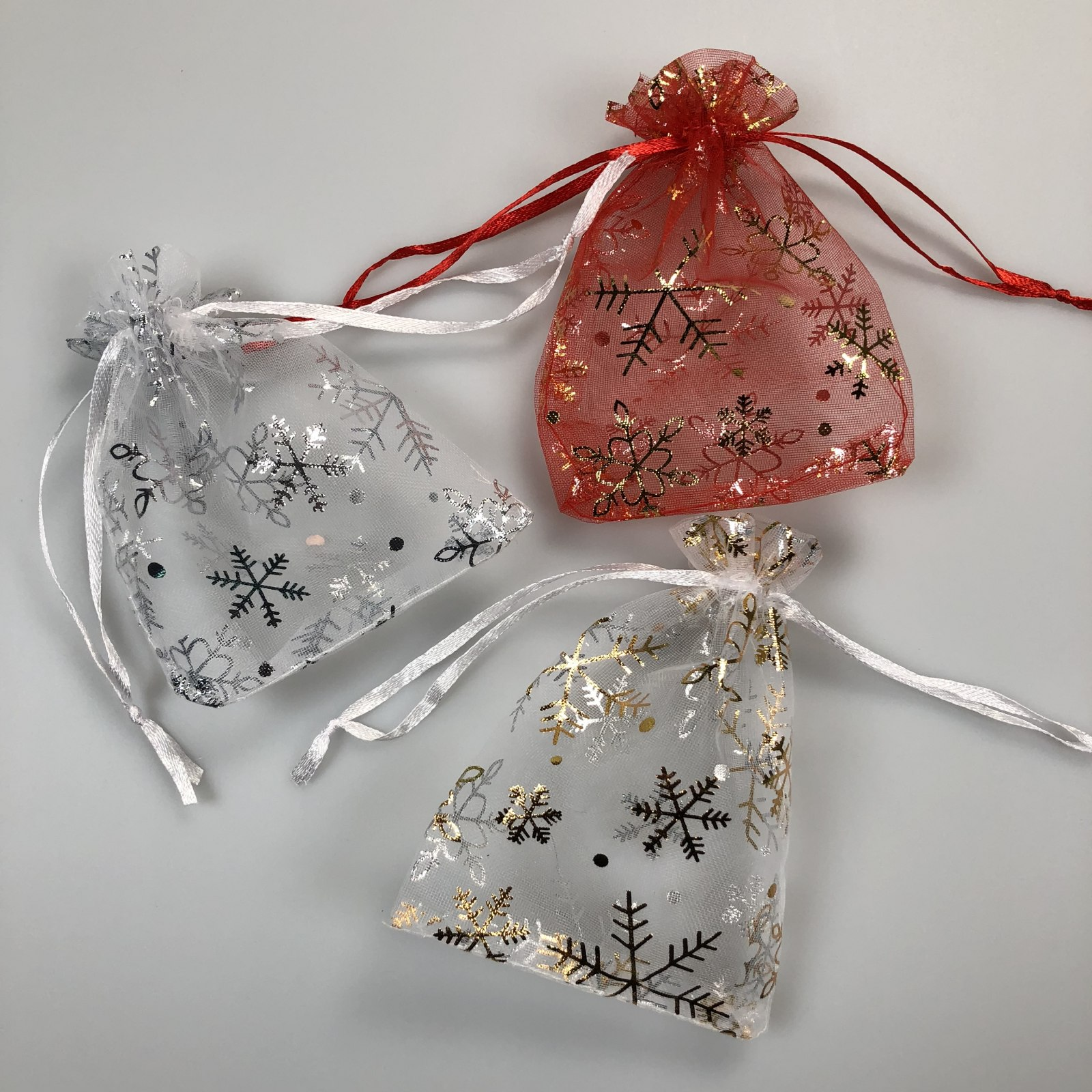 Details About Snowflake Organza Jewelry Bags Christmas Gift Candy Wedding Favour Xmas Pouches