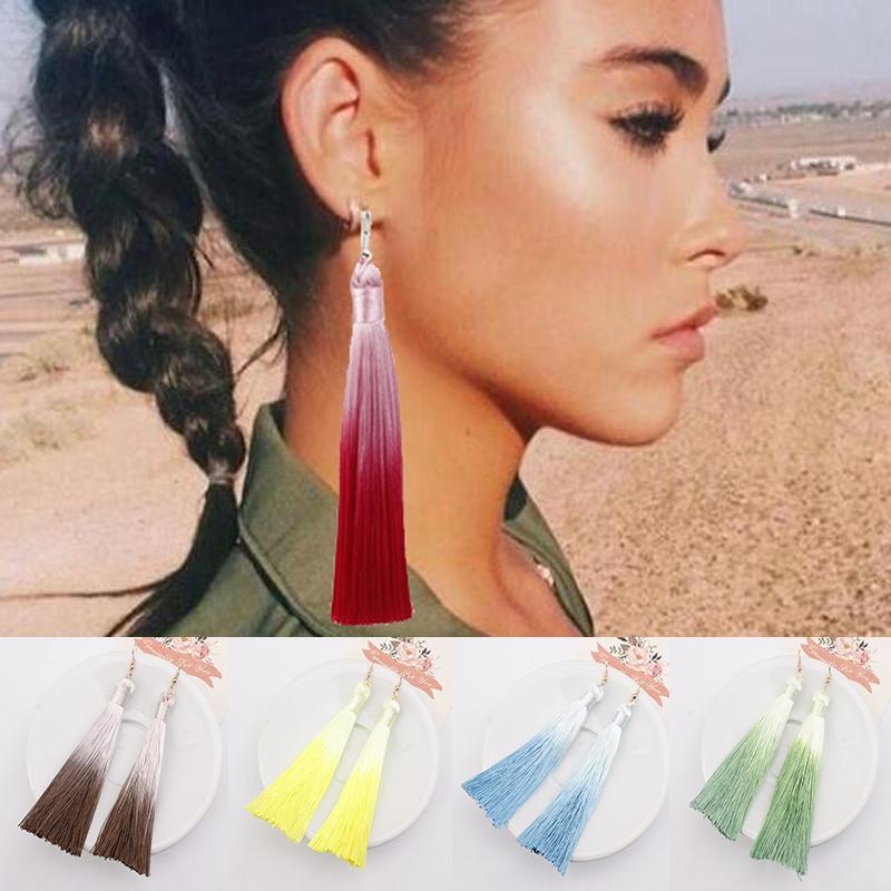 Women/'s Jewelry Fashion Gradient Color Long Tassel Fringe Boho Dangle Earrings