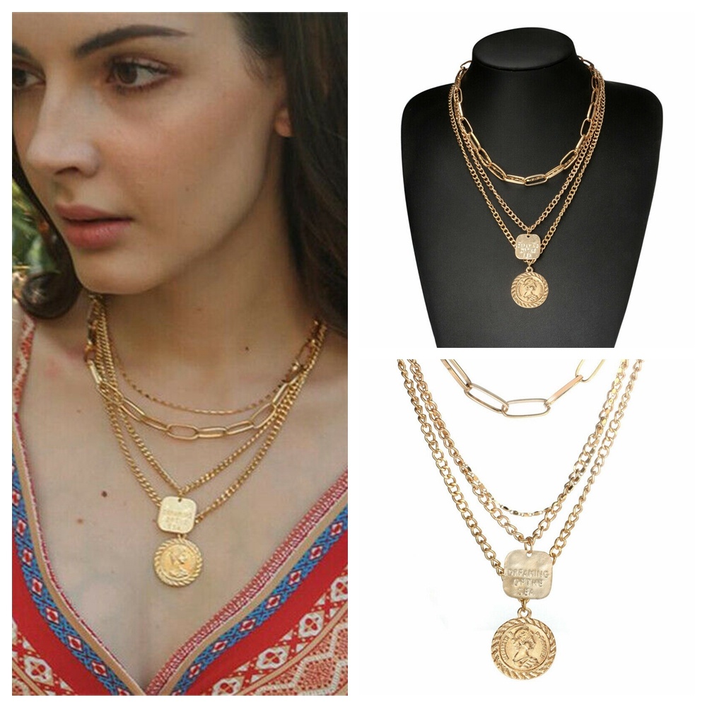 Gypsy Bohemian Vintage Ethnic Necklace Pendant Tribal Boho Coin Statement Chain