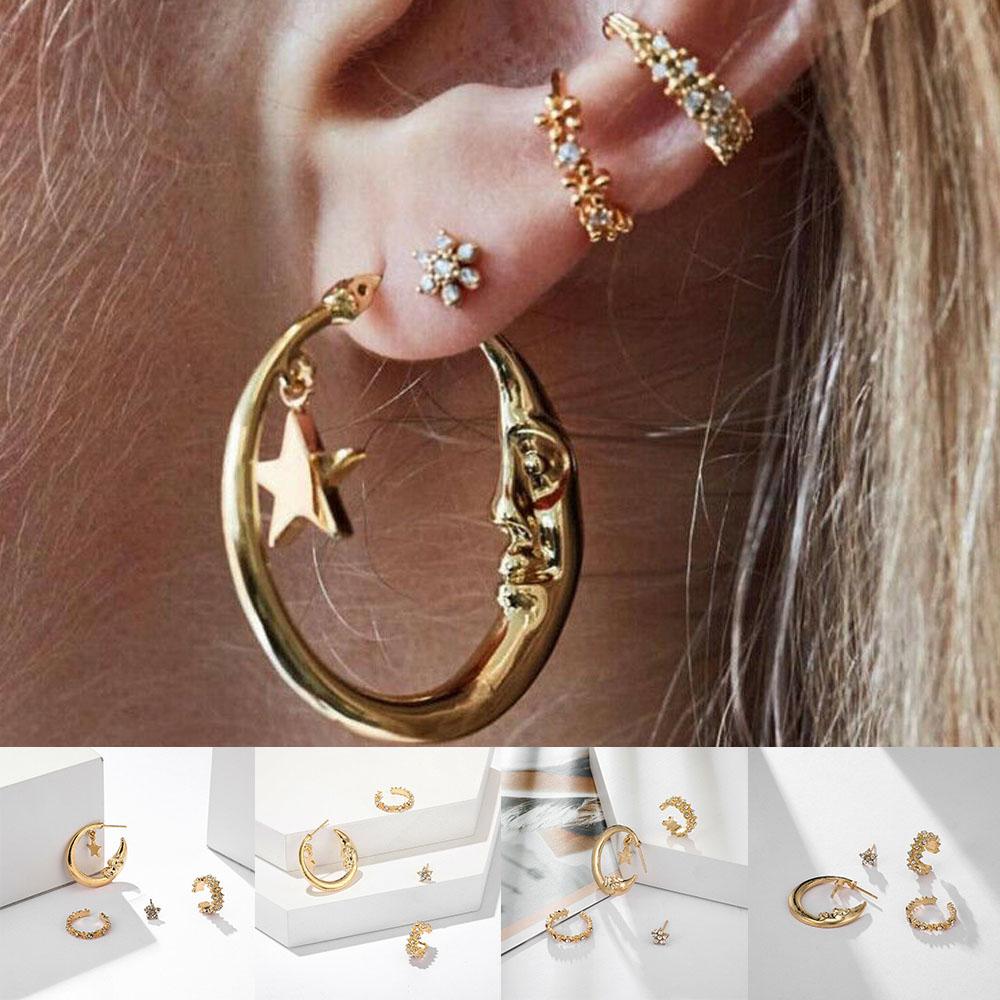 4PCS//Set Women/'s Jewelry Girl Ear Stud Gold Crystal Punk Hoop Band Earrings