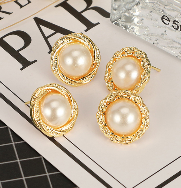 b6525fe599e Details about 6 Pairs Stud Simulated Pearls Earrings Sets For Women Retro  Gold Ear Jewelry