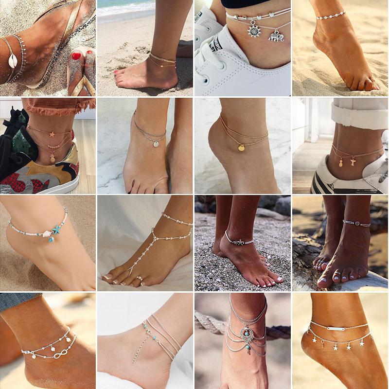 Women Luminous Love Heart Ankle Bracelet Anklet Chain Foot Beach Sandal Jewelry