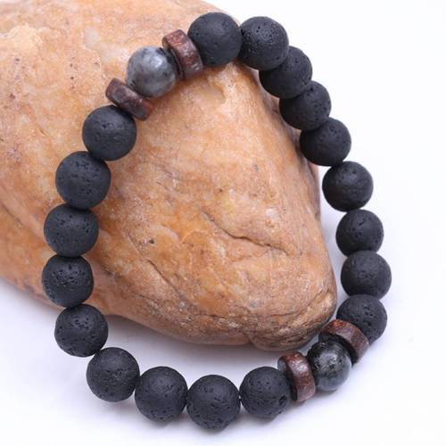 Handmade Lava Beaded Jewelry Set Summer Jewelry Set . Gift Jewelry Set Beaded Bracelet And Necklace Star Lava Stones