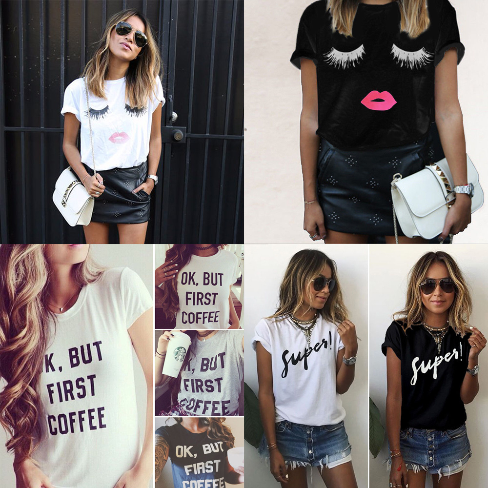 e90f9520ef Details about 1PC Short Sleeve Loose T Shirts Summer Casual Blouse Tops  Shirt for Women Girl
