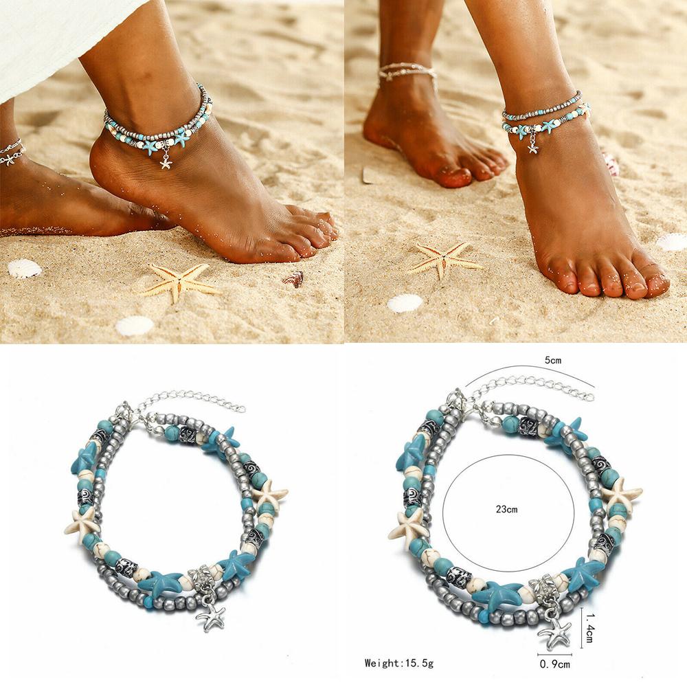 Beaded Starfish AnkletBracelet Set