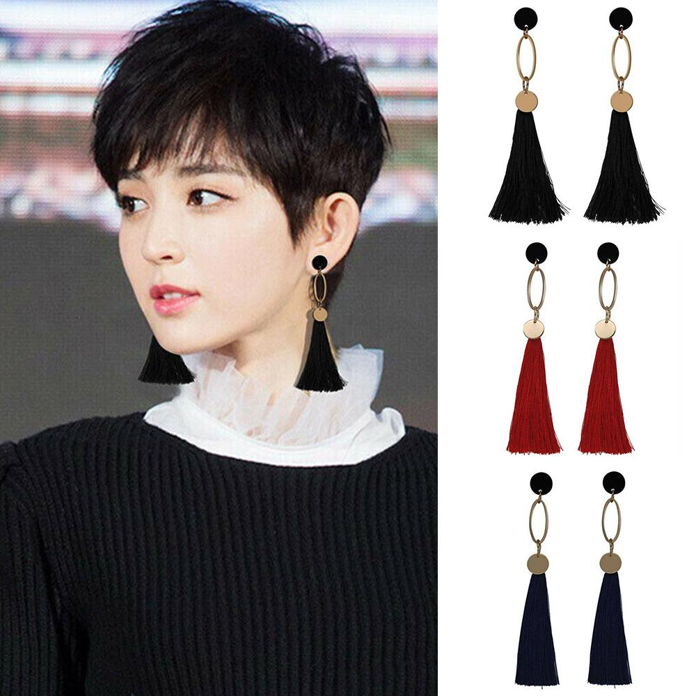 Vintage Bohemian Women/'s Fashion Long Tassel Fringe Boho Dangle Earrings Party Q