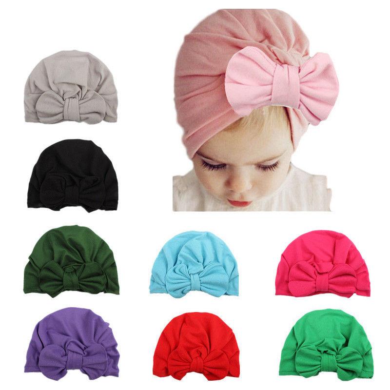 Newborn /& Mother Toddler Kid Baby Turban Cotton Beanie Hat Warm Cap+Headband Set