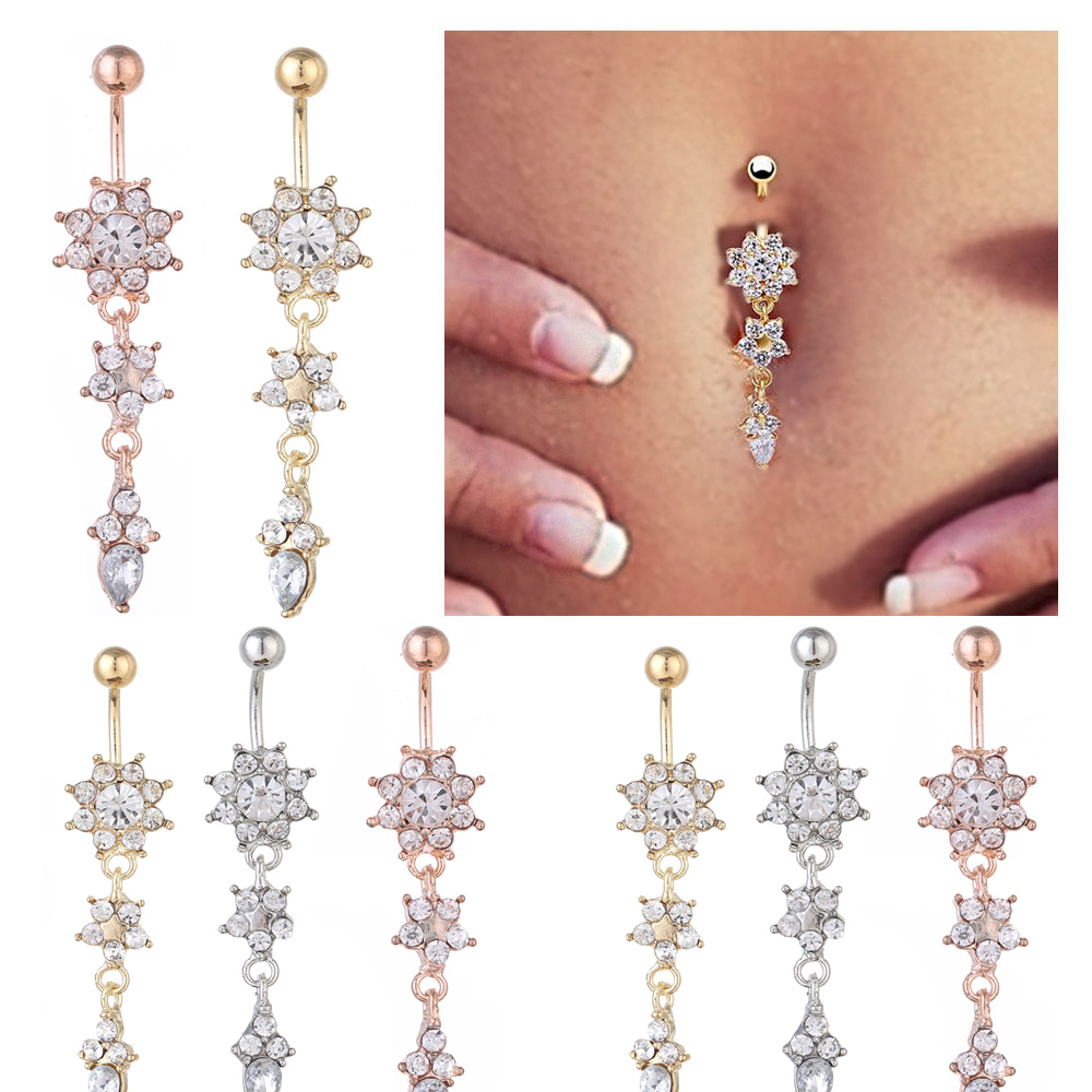 Details About Crystal Rhinestone Flower Dangle Navel Belly Ring Bar Body Piercing Jewelry