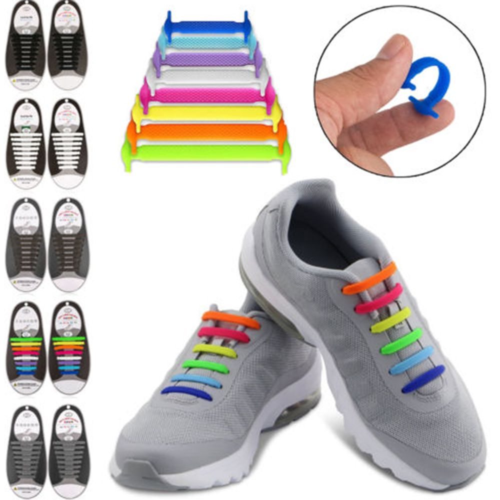 16pcs Green Tie Shoelaces  Elastic Silicone Flat Shoe Lace Set for Kids Adult