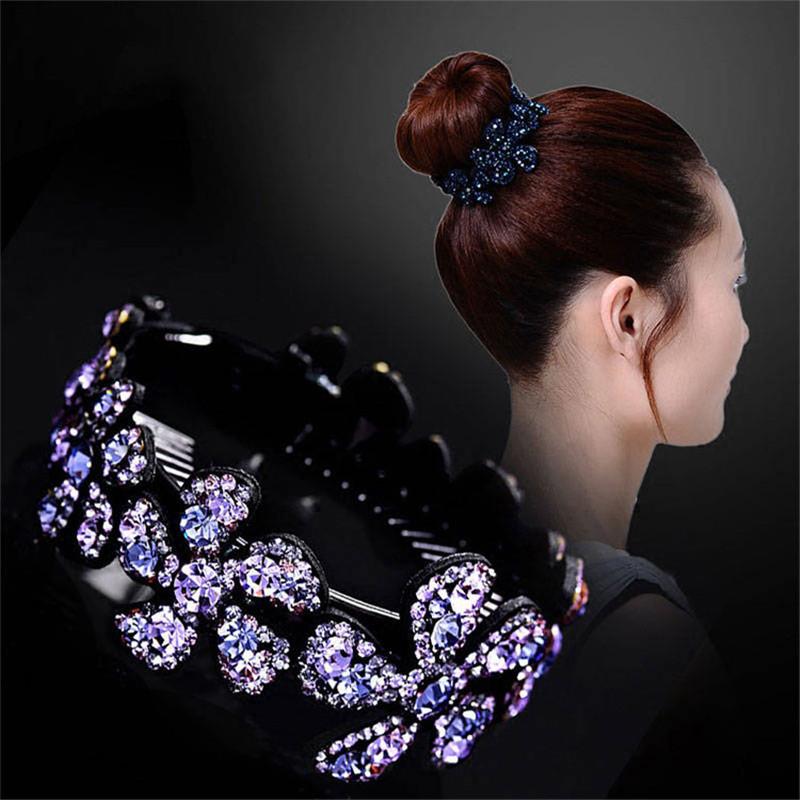 Girls Bun Hair Clip Holder Comb Hairpin Gift Claw Crystal Ponytail Women Fashion