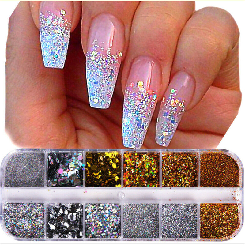 Christmas Nails Acrylic.Details About Nail Art Glitter Powder Dust Uv Gel Acrylic Powder Sequins Christmas Nails Tips