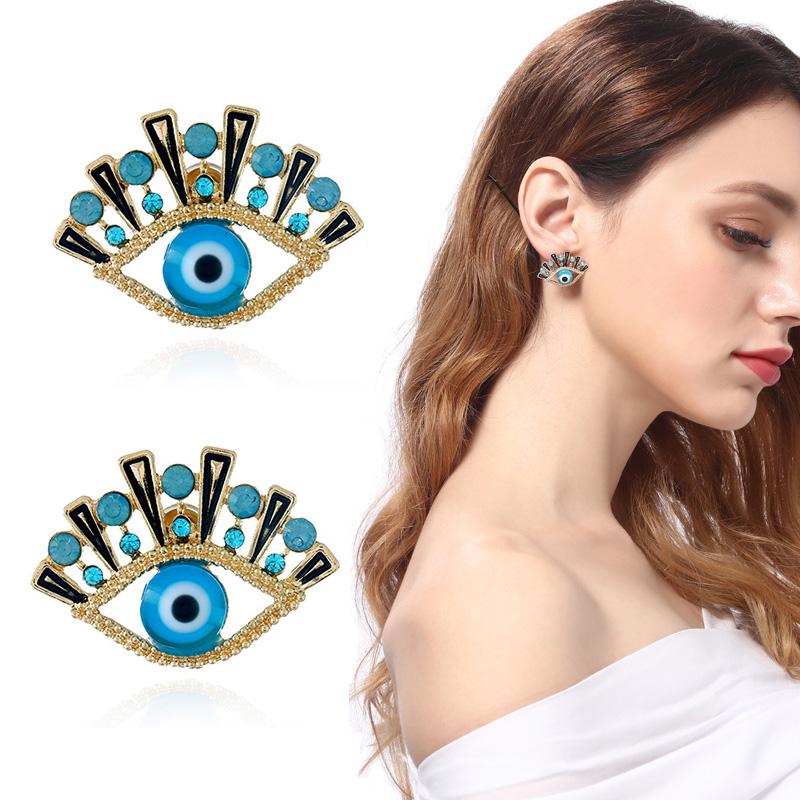 Fashion Free Ship 1Pair Silver Plated Evil Eye Tassels Charms Earring Ear Stud